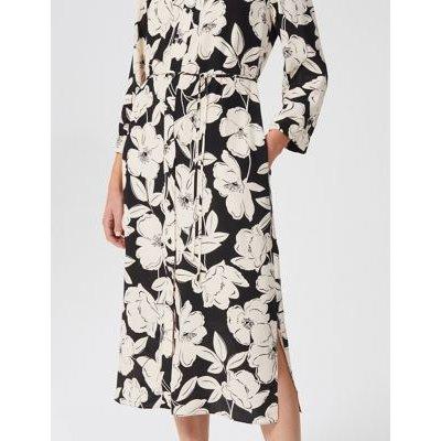 M&S Hobbs Womens Floral Button Front Midi Shirt Dress - 6 - White Mix, White Mix