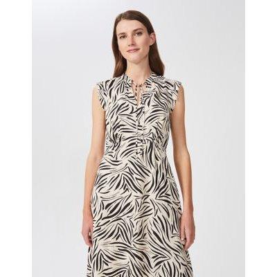 M&S Hobbs Womens Zebra Print Collared Midi Waisted Dress - 8 - White Mix, White Mix