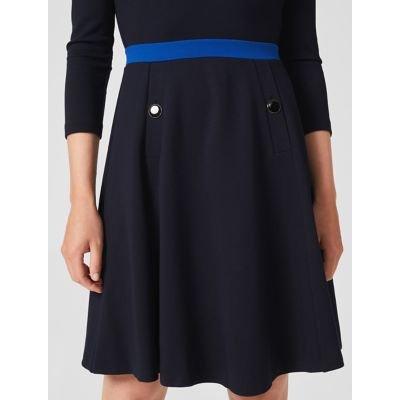 M&S Hobbs Womens Jersey Knee Length Waisted Dress - 8 - Blue, Blue
