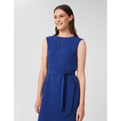 M&S Hobbs Womens Tie Front Knee Length Waisted Dress - 8 - Blue, Blue