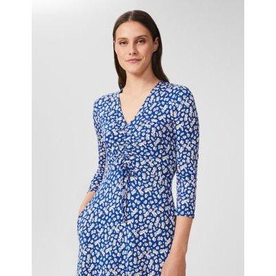 M&S Hobbs Womens Jersey Ditsy Floral V-Neck Shift Dress - 8 - Blue Mix, Blue Mix