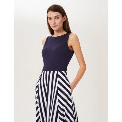 M&S Hobbs Womens Jersey Striped Midi Waisted Dress - 16 - Blue Mix, Blue Mix