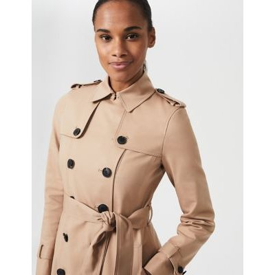 M&S Hobbs Womens Cotton Belted Trench Coat - 16 - Brown, Brown