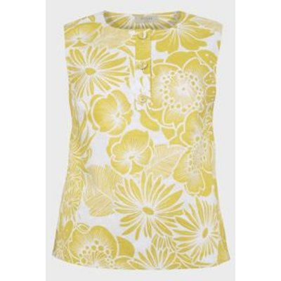 M&S Hobbs Womens Pure Linen Floral Sleeveless Shell Top - 10 - Chartreuse, Chartreuse
