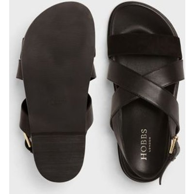 M&S Hobbs Womens Leather Strappy Flat Sandals - 36 - Black, Black