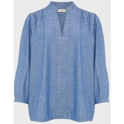 M&S Hobbs Womens Pure Cotton Long Sleeve Blouse - 10 - Blue, Blue