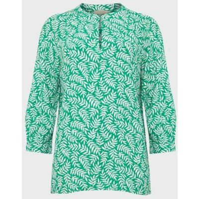 M&S Hobbs Womens Floral V-Neck Long Sleeve Blouse - 8 - Green Mix, Green Mix