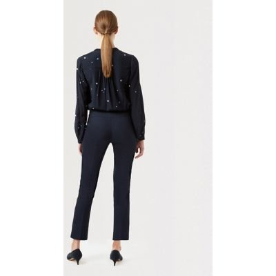 M&S Hobbs Womens Cotton Slim Fit Cropped Trousers - 8 - Navy, Navy
