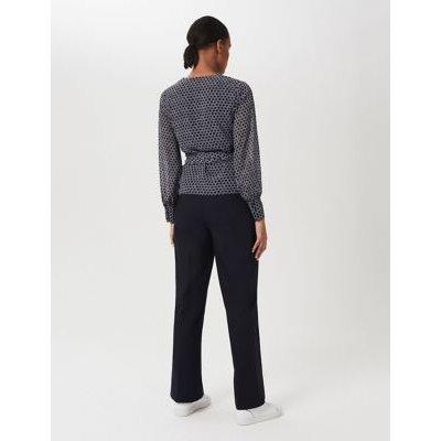M&S Hobbs Womens Geometric V-Neck Long Sleeve Blouse - 8 - Navy/White, Navy/White