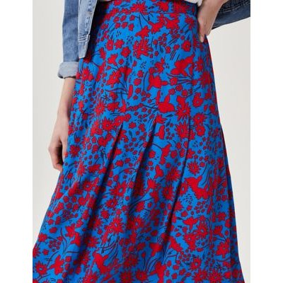 M&S Hobbs Womens Floral A-Line Midi Skirt - 14 - Blue/Red, Blue/Red