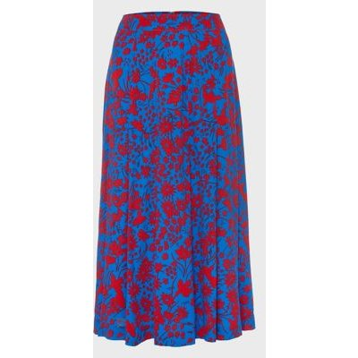 M&S Hobbs Womens Floral A-Line Midi Skirt - 10 - Blue/Red, Blue/Red