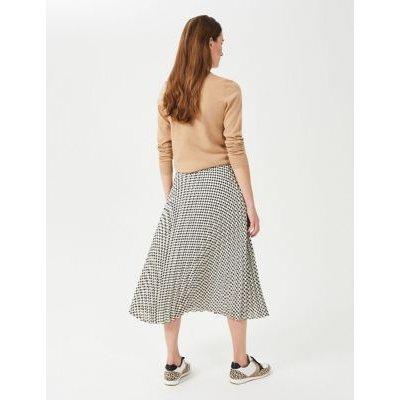 M&S Hobbs Womens Houndstooth Midi A-Line Skirt - 10 - Buttermilk, Buttermilk