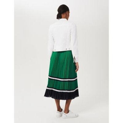 M&S Hobbs Womens Striped Pleated Midi Skirt - Green Mix, Green Mix