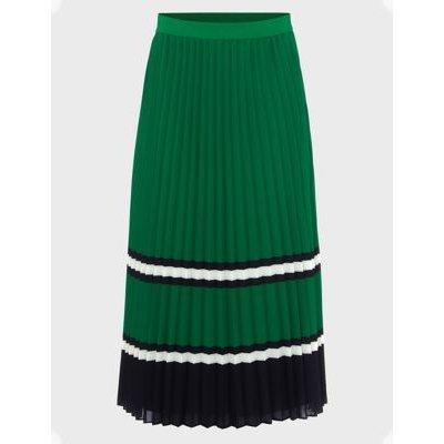 M&S Hobbs Womens Striped Pleated Midi Skirt - Green Mix, Green Mix