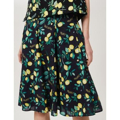 M&S Hobbs Womens Pure Cotton Lemon Print A-Line Skirt - 10 - Navy Mix, Navy Mix