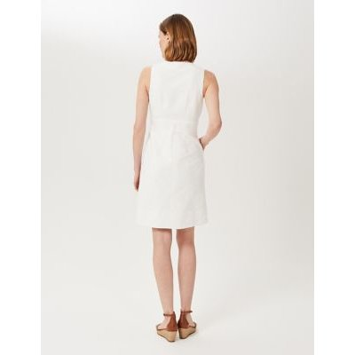 M&S Hobbs Womens Cotton V-Neck Knee Length Shift Dress - 8 - White, White