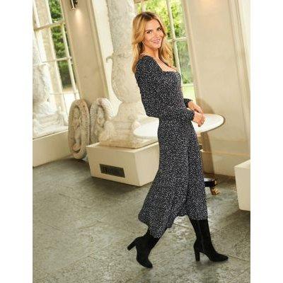 M&S Sosandar Womens Jersey Printed Midi Waisted Dress - 10 - Multi, Multi