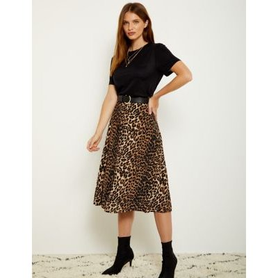 M&S Sosandar Womens Animal Print Midi A-Line Skirt - 8 - Multi, Multi