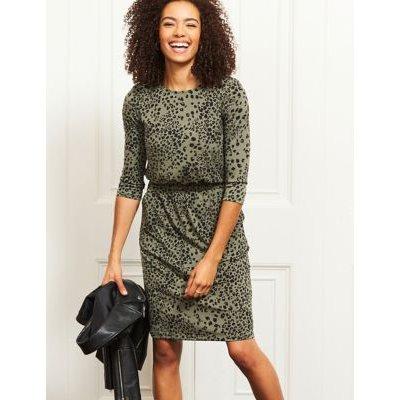 M&S Sosandar Womens Jersey Animal Print Knee Length Shift Dress - 10 - Multi, Multi