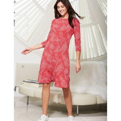 M&S Sosandar Womens Jersey Spot Print Round Neck Shift Dress - 8 - Multi, Multi
