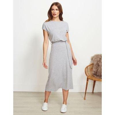 M&S Sosandar Womens Jersey Tie Front Midi Column Dress - 8 - Grey, Grey