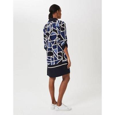 M&S Hobbs Womens Geometric Print Shift Dress - 12 - Blue Mix, Blue Mix