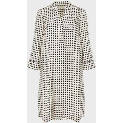 M&S Hobbs Womens Geometric V-Neck Tunic Dress - 10 - Multi/Neutral, Multi/Neutral