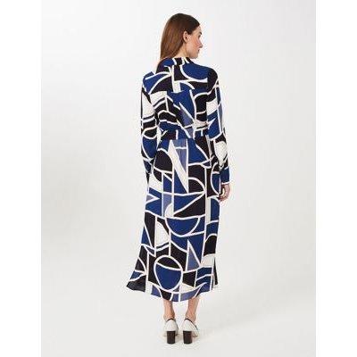 M&S Hobbs Womens Geometric Print Belted Shirt Dress - 10 - Blue Mix, Blue Mix