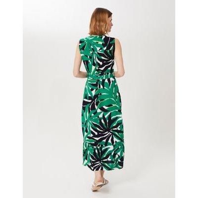 M&S Hobbs Womens Printed V-Neck Tiered Dress - 12 - Green Mix, Green Mix