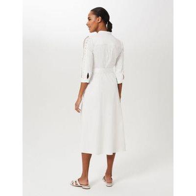 M&S Hobbs Womens Cotton Midi Shirt Dress - 8 - Ivory, Ivory