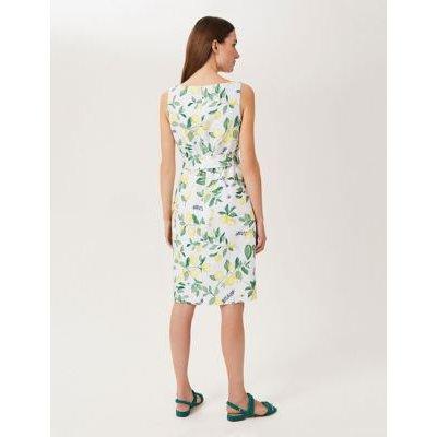 M&S Hobbs Womens Pure Linen Printed Shift Dress - 12 - White Mix, White Mix