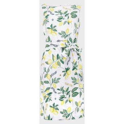 M&S Hobbs Womens Pure Linen Printed Shift Dress - 16 - White Mix, White Mix
