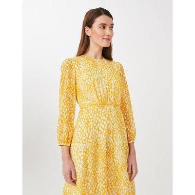 M&S Hobbs Womens Textured Polka Dot Midi Waisted Dress - 10 - Yellow Mix, Yellow Mix