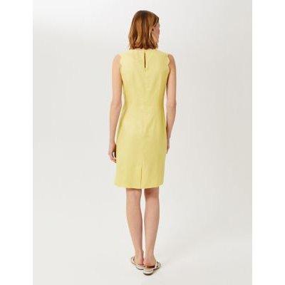 M&S Hobbs Womens Pure Linen Knee Length Shift Dress - 8 - Yellow, Yellow