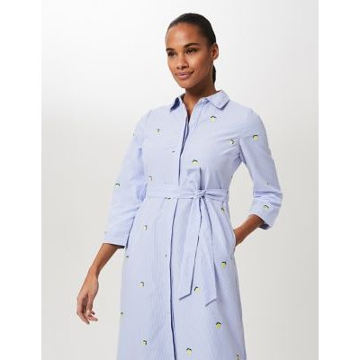 M&S Hobbs Womens Striped Tie Front Midi Shirt Dress - 16 - Blue Mix, Blue Mix