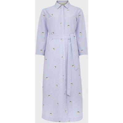 M&S Hobbs Womens Striped Tie Front Midi Shirt Dress - 14 - Blue Mix, Blue Mix