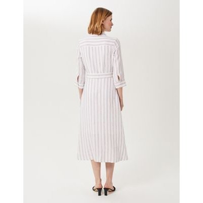 M&S Hobbs Womens Pure Linen Striped Tie Front Shirt Dress - 8 - Ivory Mix, Ivory Mix