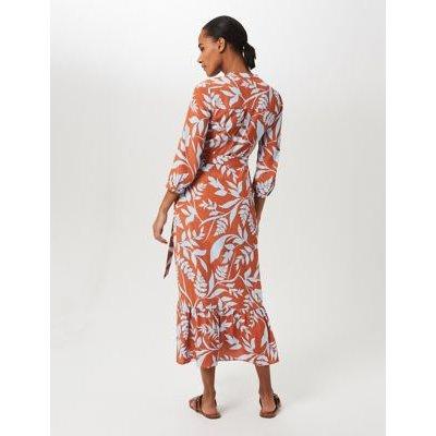 M&S Hobbs Womens Floral V-Neck Belted Shirt Dress - 8 - Brown Mix, Brown Mix