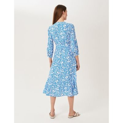 M&S Hobbs Womens Floral V-Neck Belted Tiered Dress - 10 - Blue Mix, Blue Mix