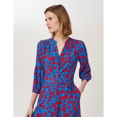 M&S Hobbs Womens Floral V-Neck Belted Tiered Dress - 10 - Blue/Red, Blue/Red,Blue Mix