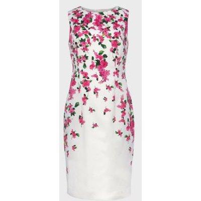 M&S Hobbs Womens Cotton Floral Knee Length Shift Dress - 8 - Fuchsia Mix, Fuchsia Mix