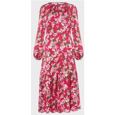 M&S Hobbs Womens Floral Round Neck Midi Waisted Dress - 16 - Pink Mix, Pink Mix