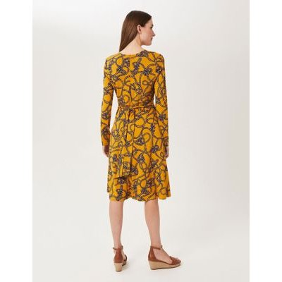 M&S Hobbs Womens Jersey Printed V-Neck Knee Length Dress - 8 - Yellow Mix, Yellow Mix