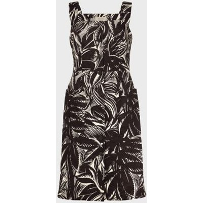 M&S Hobbs Womens Pure Linen Printed Square Neck Shift Dress - 16 - Brown Mix, Brown Mix
