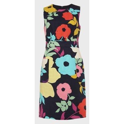 M&S Hobbs Womens Cotton Floral Sleeveless Shift Dress - 16 - Navy Mix, Navy Mix