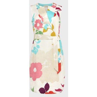 M&S Hobbs Womens Pure Linen Floral V-Neck Shift Dress - 16 - White Mix, White Mix