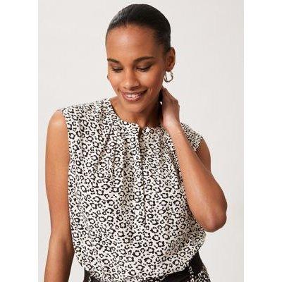 M&S Hobbs Womens Leopard Print Collarless Sleeveless Blouse - 16 - Ivory Mix, Ivory Mix