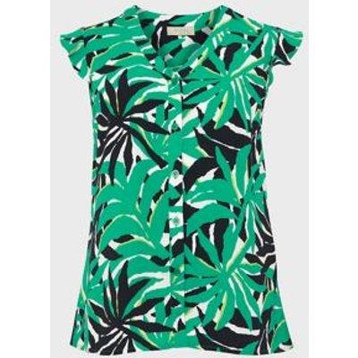 M&S Hobbs Womens Floral print Collarless Regular Blouse - 8 - Green Mix, Green Mix