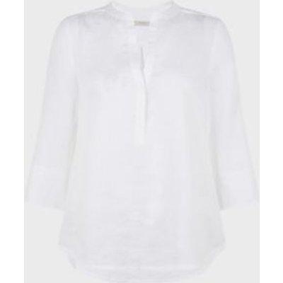 M&S Hobbs Womens Pure Linen Longline 3/4 Sleeve Blouse - 10 - White, White