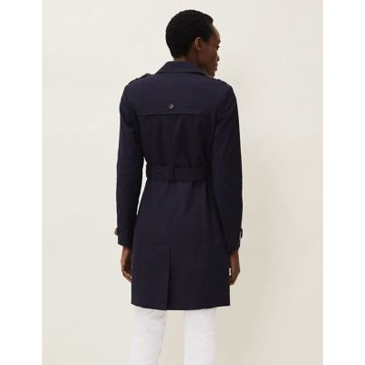 M&S Phase Eight Womens Cotton Belted Double Breasted Trench Coat - 10 - Navy, Navy